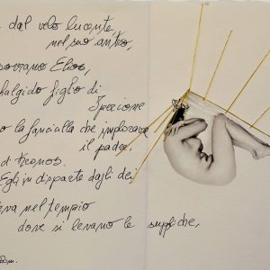 11 DEMETRA E LA FONDAZIONE DEI MISTERI- 2021 - 15 x 21 cm foto su carta cotone, manoscritto - ricamo filo oro - E 1-25