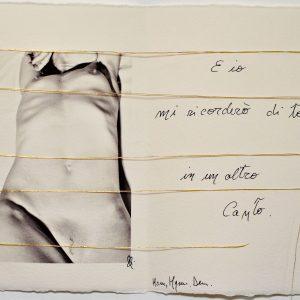 12 DEMETRA E LA FONDAZIONE DEI MISTERI- 2021 foto su carta cotone, manoscritto - ricamo filo oro - - E 1-495