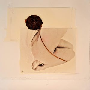 7 KOSMOS 2020 - 40 x 40 cm - foto su carta cotone- fiore essicato - patchwork carta cotone su tela