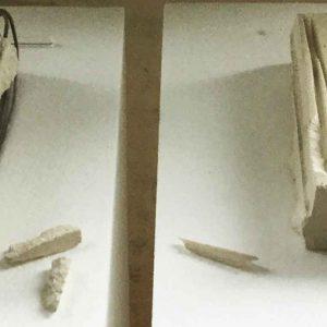 Concetta Palmitesta |  LEGAMI SPEZZATI, ILLEGGIBILE | 2018, Scultura in pietra bianca della Maiella