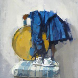 BLUE DRESS AND TRAY NIVEA   2019, Olio su lino, 22x30 ins