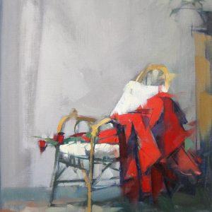 RED DRESS WICKER PLANT | Olio su lino, 13x14 ins